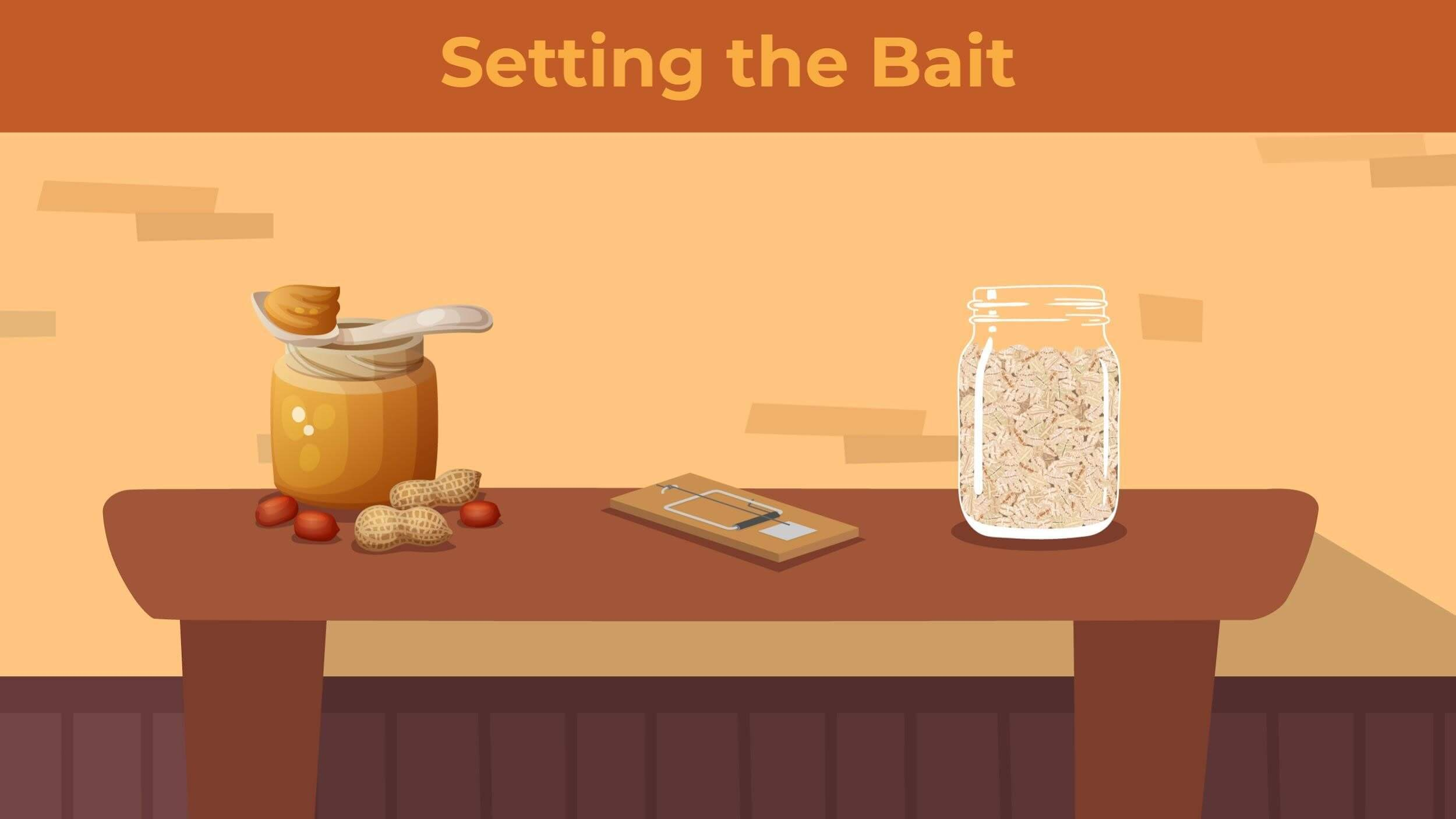 Illustration of peanut butter and dried oats sitting next to a snap trap on a table.